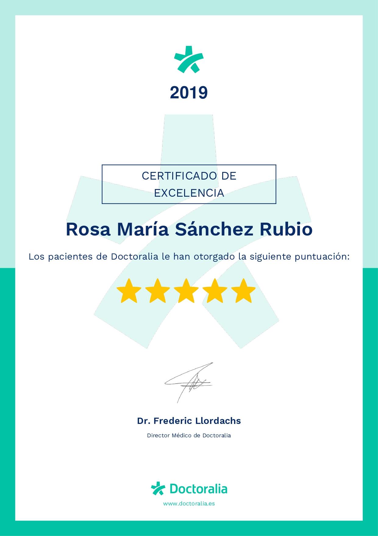 Certificado de excelencia 2019